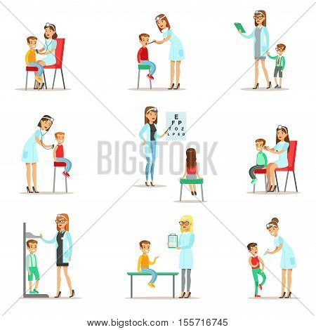 Kids On Medical Check-Up With Female Pediatrician Doctors Doing Physical Examination For The Pre-School Health Inspection. Young Shildren On Medical Appointment Checking General Physical Condition Set Of Illustrations.