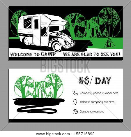 Vector illustration of Bussines card, flyer, leaflet with cars Recreational Vehicles Camper Vans Caravans icon, card template, invitation Transport for Camp.