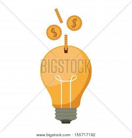 ligth bulb with dollar coins vector illustration