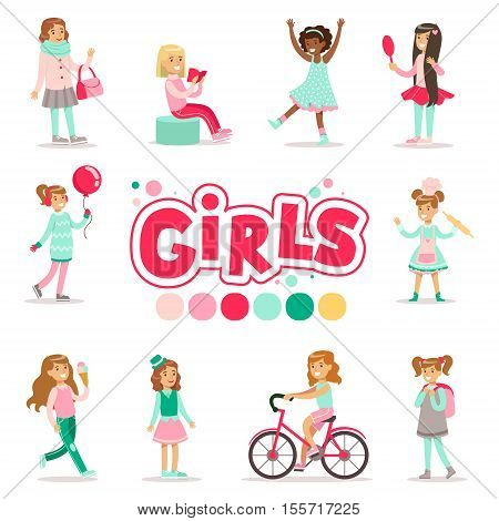 Happy And Their Expected Classic Behavior With Baking, Beauty Procedures And Sweets Set Of Traditional Female Kid Role Illustrations. Collection Of Smiling Teenage Girls And Their Interests Vector Flat Illustrations.