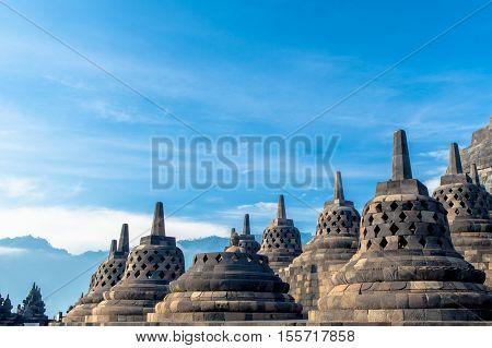 top of Borobudur Temple Yogyakarta Java Indonesia.