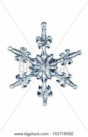Blue glass snow flake isolated over white