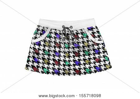 Colorful sporty mini skirt isolated over white