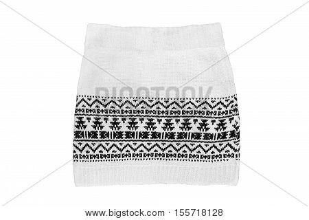 Knitted white mini skirt isolated over white