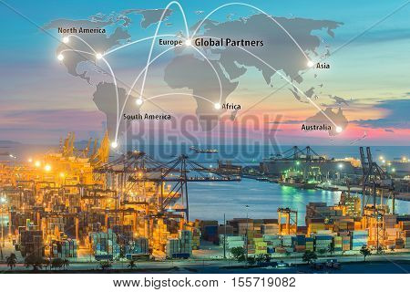 Map global logistics partnership connection of Container Cargo freight ship for Logistics Import Export background Global logistics network transportation maritime shipping