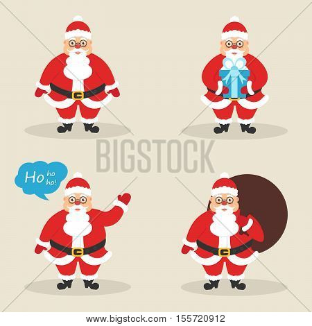 Set of cute Santa clauses in different poses. Santa with the bag with gift waving his hand.