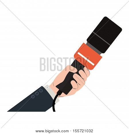 hand holding microphone with square grid vector illustration