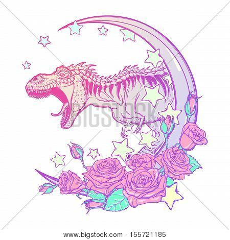 Detailed sketch style drawing of the roaring tyrannosaurus rex on Kawaii Moon and roses frame. Tattoo design. Concept art. Pastel goth pallette. EPS10 vector illustration isolated on white background.