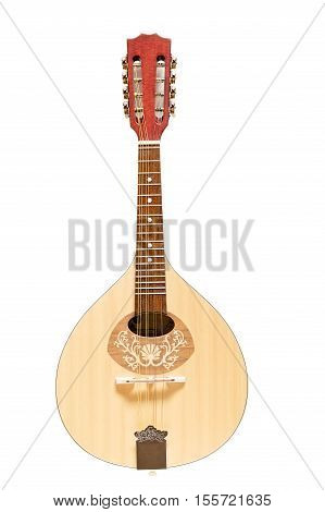 Flat-back mandolin made of wood isolated on white