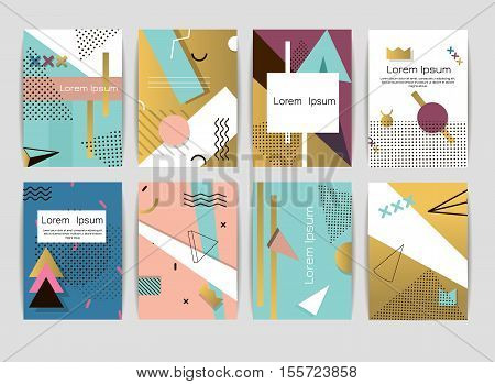 Memphis cards pattern of geometric shapes invitation and postcards. Hipster poster juicy template color invitation card. Abstract geometric graphic style 80s creative universal memphis card vector.