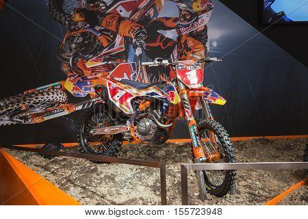 Ktm Motorbike On Display At Eicma 2016 In Milan, Itally