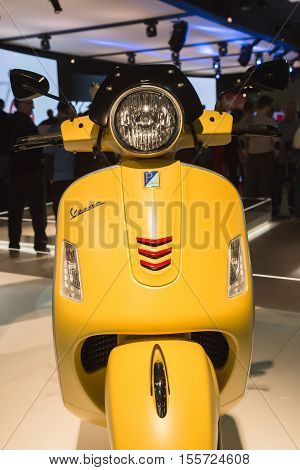 Vespa Scooter On Display At Eicma 2016 In Milan, Itally