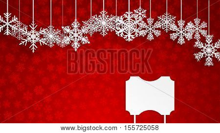 Christmas Background With A Blank Sign And Snowflakes