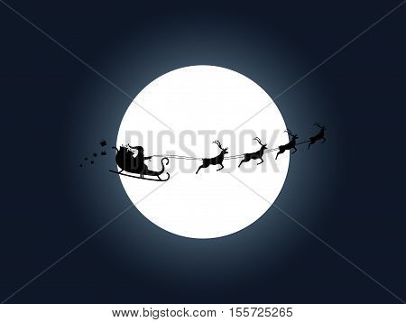 Santa Claus in a sleigh on a background of the moon. Santa's sleigh. Vector illustration.