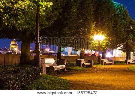 Night view of alley on Spit of Vasilyevsky Island Saint Petersburg Russia