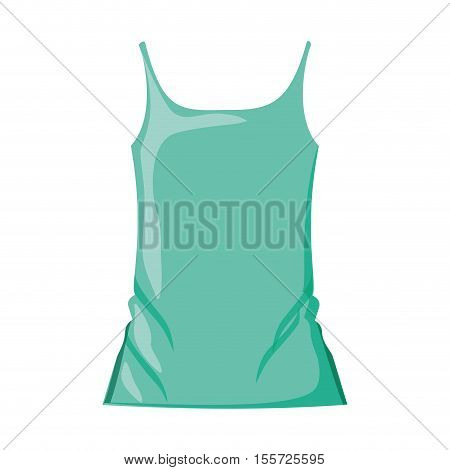 woman t-shirt sleeveless with color green vector illustration