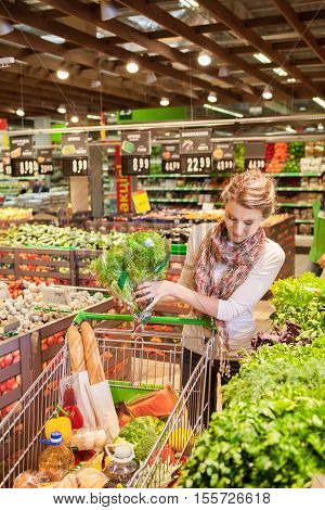 Portrait of beautiful young woman choosing green leafy vegetables in grocery store. Concept of healthy food shopping