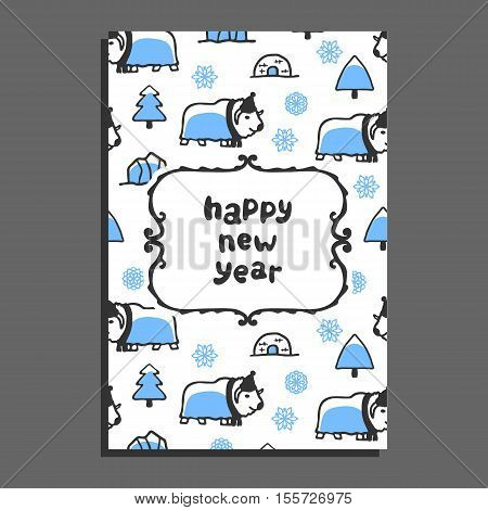 Happy new year card template with cute cartoon musk-ox. Vector snowflakes and icebergs. Arctic animal wears scarf