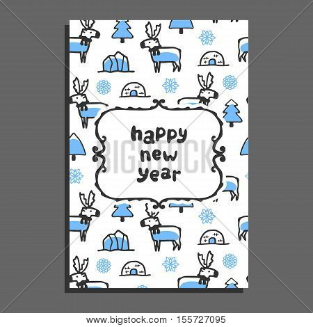 Happy new year card with cute cartoon reindeer. Vector doodle caribou, and icebergs. Arctic animal wears scarf