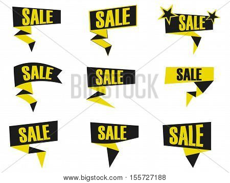 Set of black and yellow discount and promotion banners. Sale banner tag. Advertising element. Callouts sale. Vector illustration.
