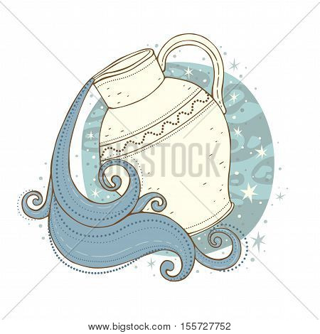 Aquarius zodiac sign. Vector illustration isolated on white.