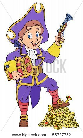 Illustration of pirate boy with a treasure