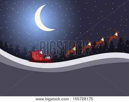 Santa Claus is flying in a sleigh with reindeer. Santa's sleigh. Vector illustration.