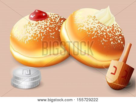 Vector illustration of jewish holiday Hanukkah with traditional donuts and wooden spinning top and coins.