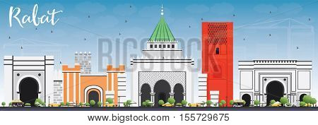 Rabat Skyline with Gray Buildings and Blue Sky. Vector Illustration. Business Travel and Tourism Concept with Historic Architecture. Image for Presentation Banner Placard and Web Site.
