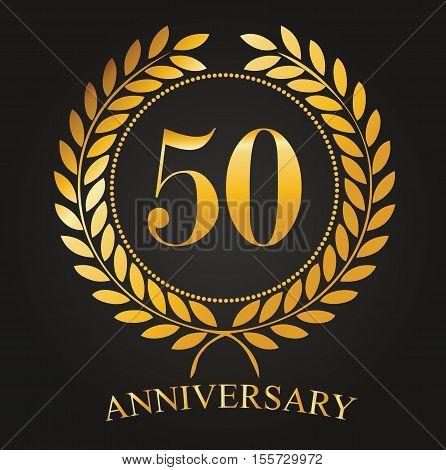 50 Years Anniversary Golden Label - 50th Anniversary Logo Celebretion Ribbon Vector Illustrator Stock