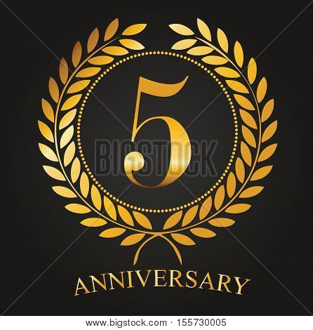 5 Years Anniversary Golden Label - 5th Anniversary Logo Celebretion Ribbon Vector Illustrator Stock