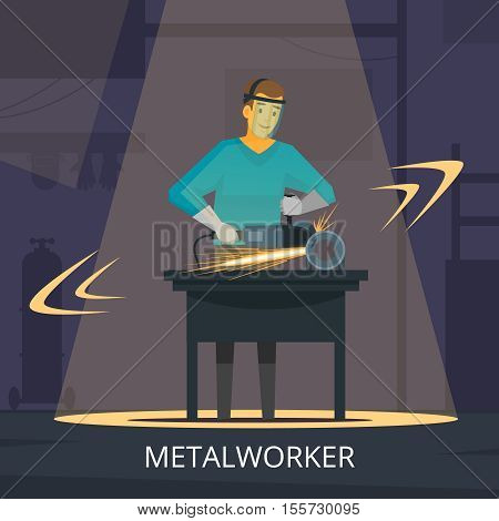 Metalworker production process of forming cutting and polishing metal workshop demonstration retro flat poster vector illustration