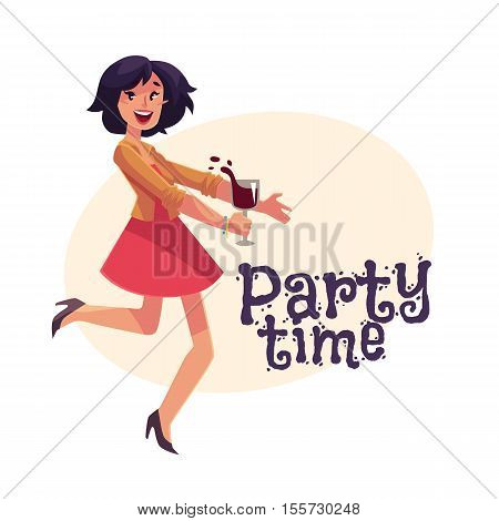 Young beautiful girl dancing at the party with a wine glass, cartoon vector illustration isolated, banner vector template. Full height portrait of young pretty woman dancing and having fun