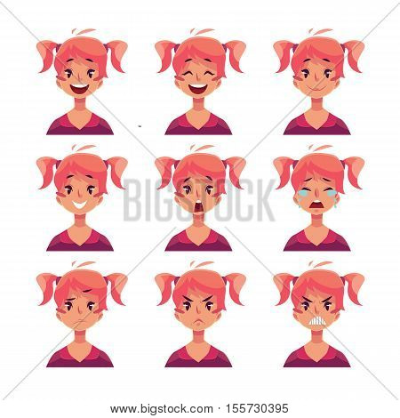Teen girl face expression, set of cartoon vector illustrations isolated on white background. Red-haired girl with ponytails emoji face icons, set of female teen avatars with different emotions