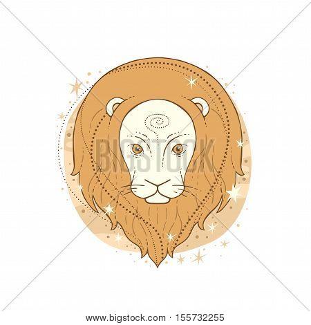 Leo zodiac sign. Vector illustration isolated on white.