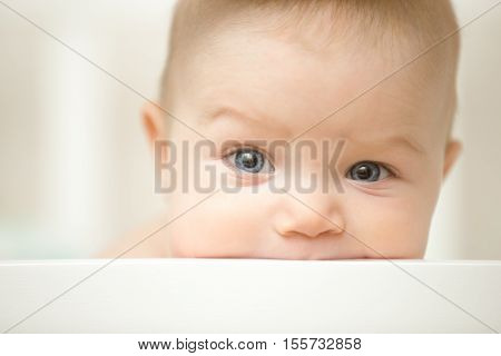 Cute Child Sucking A Wooden Board Of The White Cot