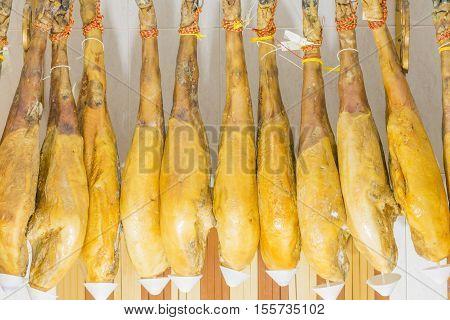 Iberian ham, typical Spanish, Hung ham legs