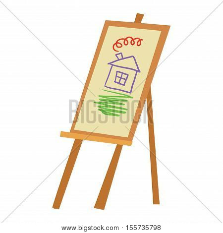 Easel art board vector isolated. Art board for some artist with paint brush and palette. Artist painting board isolated on white. Easel canvas artboard