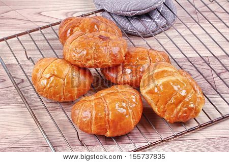 Home made Crispy fresh margarine croissant served.
