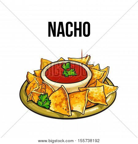 Nachos, traditional Mexican food made of corn tortilla with salsa sauce, sketch style vector illustration on white background. Hand drawn Mexican nachos, tortilla chips serves with tomato garnish
