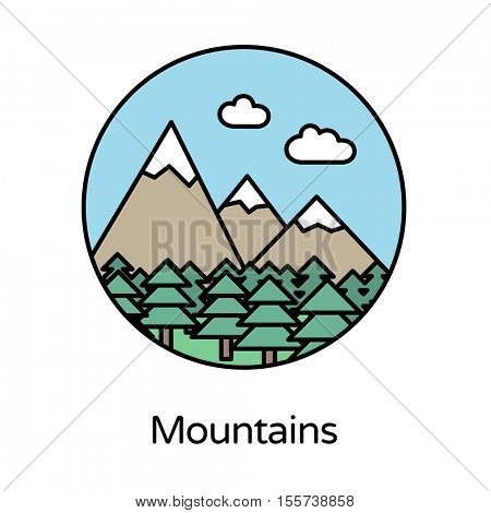 Mountains icon - circle line icons collection. Travel, tourism, sports & free time activity concept.