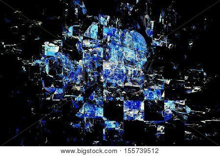 Blue Debris On Black Background. Abstract Grunge Fractal Texture. 3D Render.