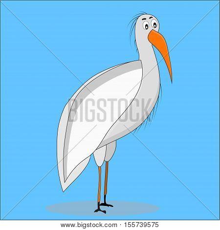 Ibis bird cartoon. Egret and white ibis hummingbird and bald ibis. Vector illustration