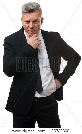 Mature Businessman Thinking. Isolated On White