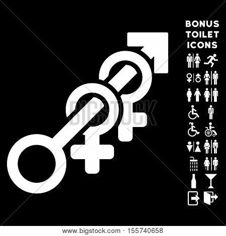 Harem icon and bonus gentleman and lady WC symbols. Vector illustration style is flat iconic symbols, white color, black background.