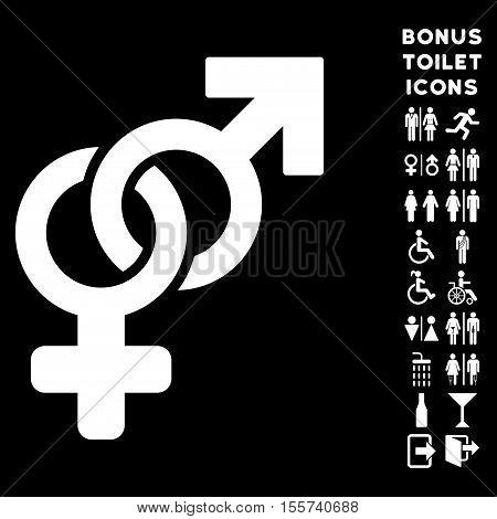 Heterosexual Symbol icon and bonus gentleman and lady lavatory symbols. Vector illustration style is flat iconic symbols, white color, black background.
