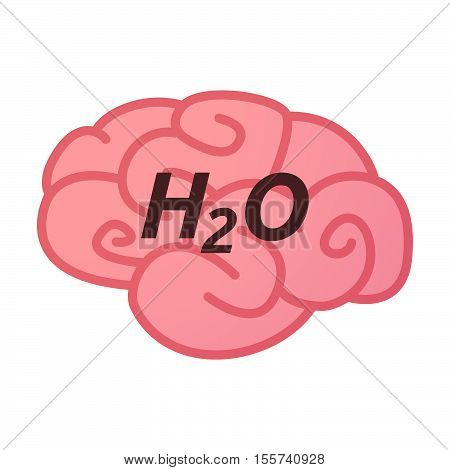 Isolated Brain Icon With    The Text H2O