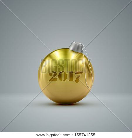 Golden Christmas ball. Holiday vector illustration of traditional festive Xmas bauble. Merry Christmas and Happy New 2017 Year greeting card design element.