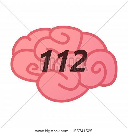Isolated Brain Icon With    The Text 112