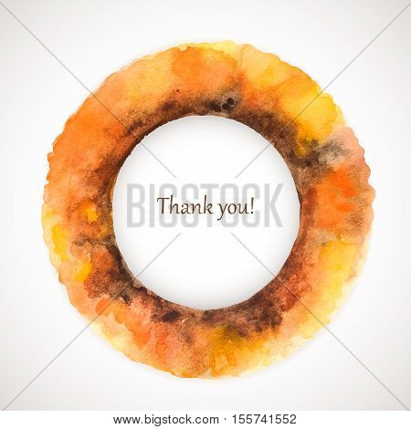 Vector watercolor holiday frame. Colorful drawing background. Yellow textute spot. Saturated handmade blot. Thanksgiving Day